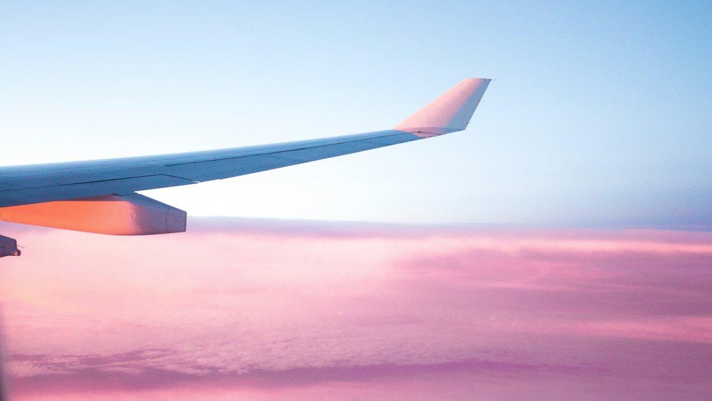 ხედი თვითმფრინავიდან ფრთა